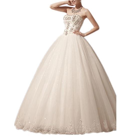 Strapless Tule Lace Diamonds Wedding Dress Ivory 2X