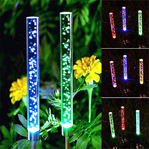 YXYQR Outdoor Solar Garden Lights, Color Changing Acrylic Bubble Tube Waterproof Solar Powered Stake Light for Backyard Pathway Yard Lawn Decoration (2pcs)