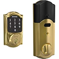 Schlage Connect Smart Deadbolt with Camelot trim in Bright Brass, Zigbee Certified - BE468GBAK CAM 605