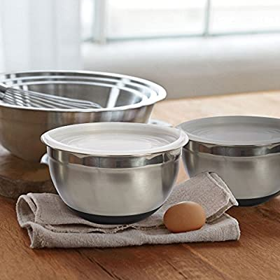 Heavy Duty Stainless Steel Mixing Bowls – NON SLIP BOTTOM - Set of 3 Different Sizes - by Product Stop