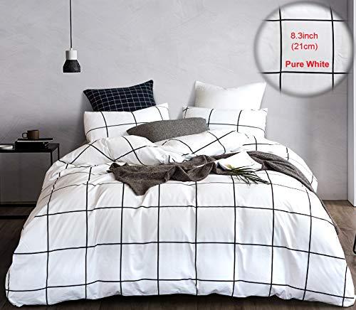 karever Black White Plaid Bedding Duvet Cover Set Boys Big Grid Duvet Cover Cotton Full Queen Wonky Checkered Geometric Comforter Cover Set for Women Men