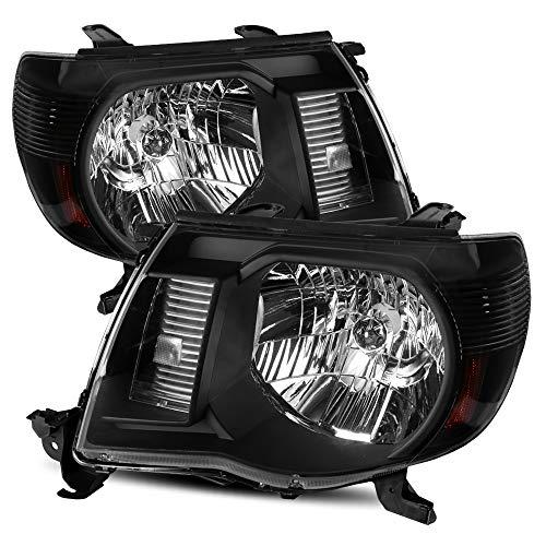 (Modifystreet For 05-11 Toyota Tacoma Black Crystal Headlights Left/Right Assembly )