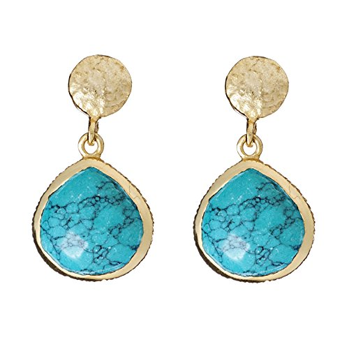 Turquoise Magnesite - Azuni London Eos Drop Earrings in Turquoise Magnesite and Gold
