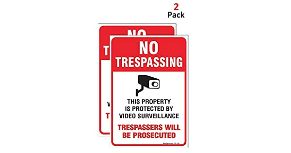 2 Pack) No Trespassing Sign Video Surveillance Sign, 10x7