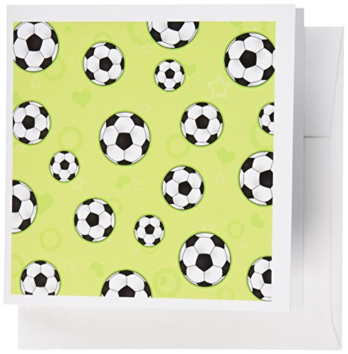 All Star Football Invitations - 3dRose Cute Green Soccer Star Print - Greeting Cards, 6 x 6 inches, set of 6 (gc_110760_1)