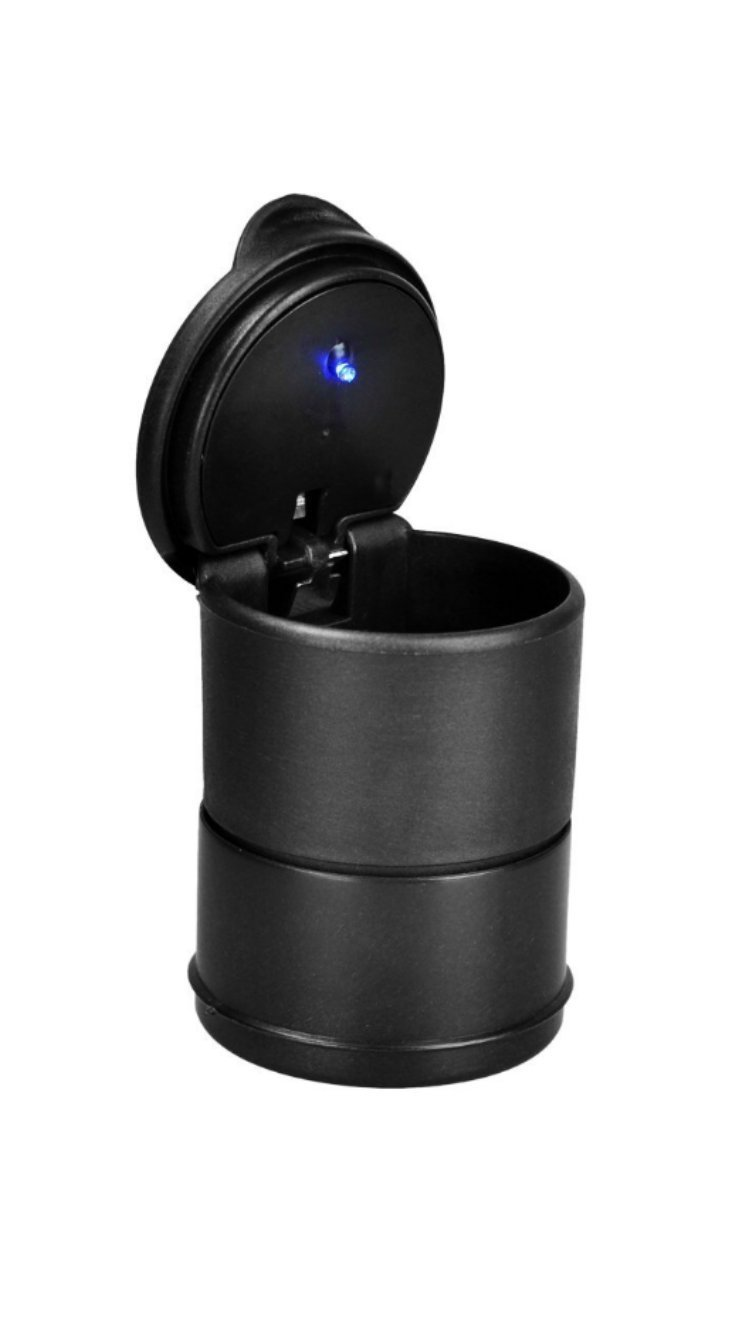 Pentaton Portable Car Ashtray - Black Smokeless with Blue LED Light Universal Size Unbekannt