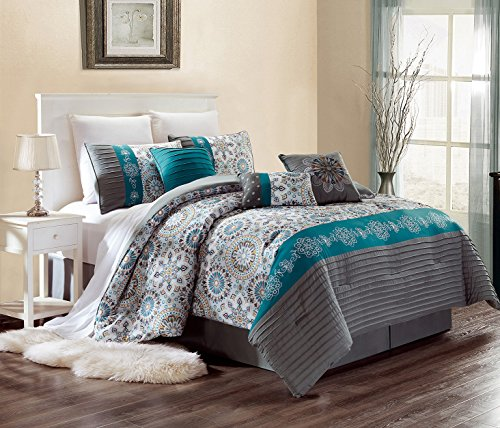 Luxury 7 Piece Bedding SAMMY Pin Tuck Comforter Set in Grey, Dark Grey, Teal Blue and Yellow - KING size set with accent pillows