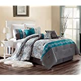 Luxury 7 Piece Bedding SAMMY Pin Tuck Comforter Set in Grey, Dark Grey, Teal Blue and Yellow - QUEEN size set with accent pillows