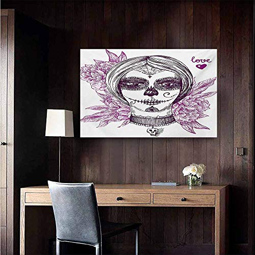 duommhome Day of The Dead Living Room Decorative Painting Gothic Vampire Like Dead Face Skull with Flowers Image Print Modern Minimalist Atmosphere 24