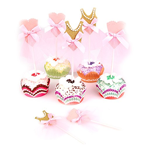 Price comparison product image Skylove Ballerina Tutus Cupcake Toppers Ballet Princess Skirt Cake toppers Glitter Decoration for any Childrens Party,  Pink / Gold (Set of 10)