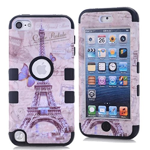 iPod Touch 5th Generation Case,Lantier 3 Layers Hybrid Soft Silicone Hard Plastic Quakeproof Drop Resistance Protective Case Cover For iPod Touch 5 With Butterfly and Eiffel Tower Pattern Black