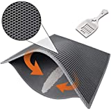 "Pieviev Cat Litter Mat,Kitty Box Litter Trapper Pads of Large Size 30"" X 24"", Honeycomb Double-Layer, Waterproof Urine Proof Mat, Easy Clean and Floor Carpet Protection (Mat + Litter Scoop)"