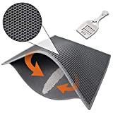 Pieviev Cat Litter Mat,Kitty Box Litter Trapper Pads of Large Size 30'' X 24'', Honeycomb Double-Layer, Waterproof Urine Proof Mat, Easy Clean and Floor Carpet Protection (Mat + Litter Scoop)