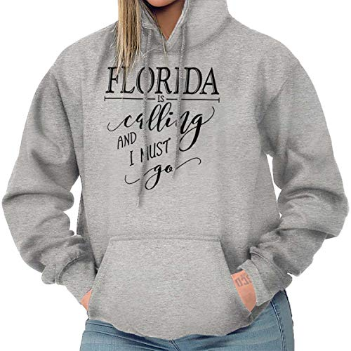 Brisco Brands Florida is Calling I Must Go Home Womens Shirt State City Cool Fleece Hoodie ()