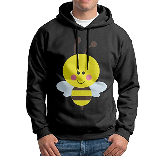 Bekey Men's Cute Bumble Bee Pullover Hoodie Sweatshirt XL Black