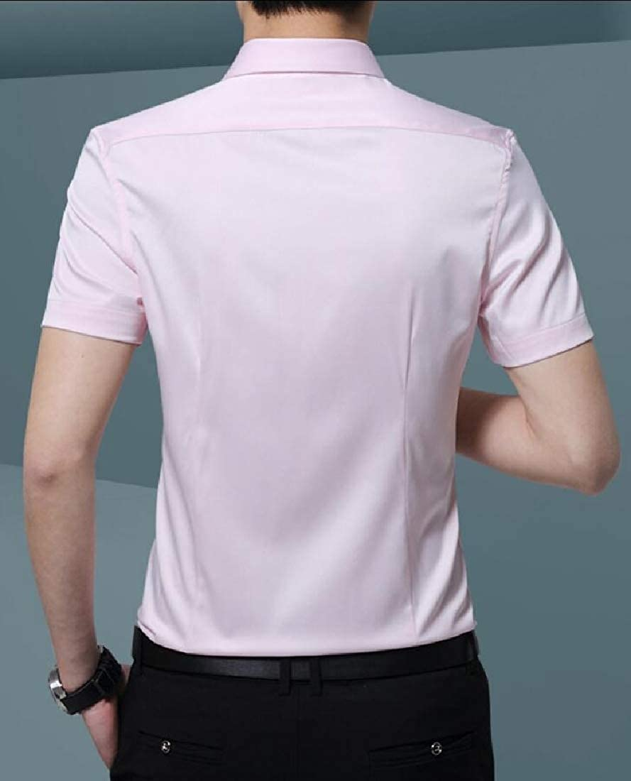 WSPLYSPJY Mens Casual Solid Dress Shirt Business Short Sleeve Button Down Shirts