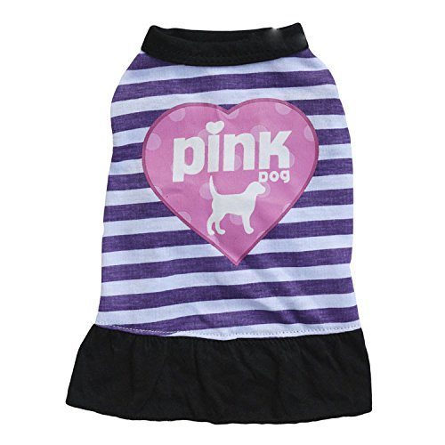 L Ollypet Cute Dress  Pink Dog  for Small Pets Clothes Stripes Skirt Purple L
