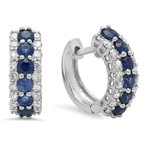14K White Gold Round White Diamond & Blue Sapphire Ladies Huggies Hoop Earrings (White Earrings Fancy Sapphire)