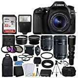 Cheap Canon EOS 80D DSLR Camera Body + Canon EF-S 18-55mm + Canon EF-S 55-250mm Lens & Telephoto 500mm f/8.0 (Long) + Wide Angle Lens + 58mm 2X Lens + Macro Filter Kit + 32GB Memory Card + Accessory Bundle