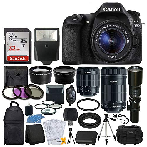 (Canon EOS 80D DSLR Camera Body + Canon EF-S 18-55mm + Canon EF-S 55-250mm Lens & Telephoto 500mm f/8.0 (Long) + Wide Angle Lens + 58mm 2X Lens + Macro Filter Kit + 32GB Memory Card + Accessory Bundle )