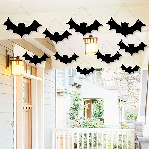 Hanging Black Bats - Outdoor Hanging Decor - Halloween Party Decorations - 10 Pieces