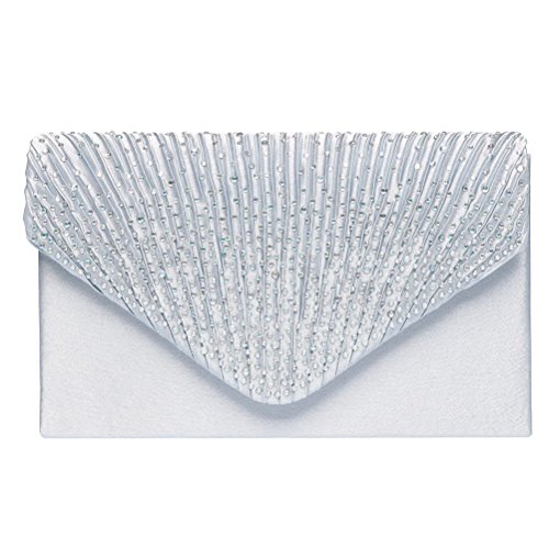 Fashion Road Womens Satin Envelope Evening Clutch Purse Wedding Party Prom Handbags
