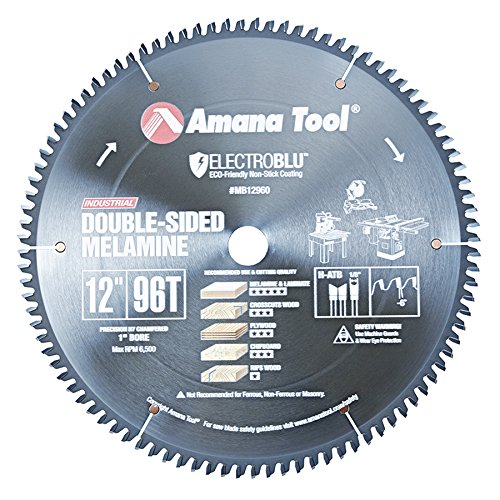 Amana Melamine Blade (Amana Tool MB12960C Electro-Blu Carbide Tipped Double-Face Melamine 12 Inch D x 96T H-ATB, -6 Deg, 1 Inch Bore, Non-Stick Coated Circular Saw Blade)