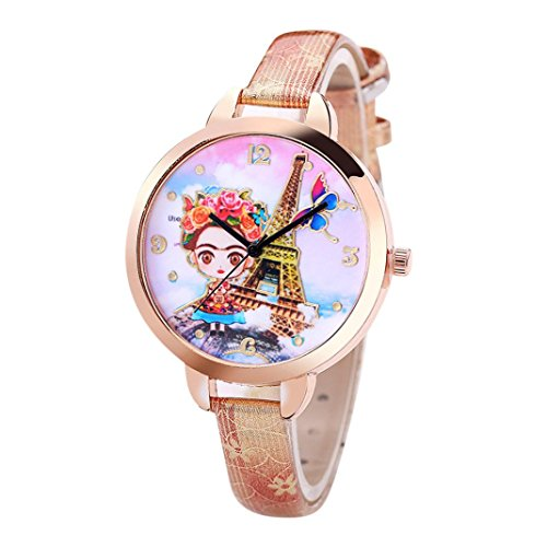 Hunputa Fashion Faux Leather Band 3D Girl Tower Printed Dial Analog Quartz Round Wrist Watches Gift (Beige)