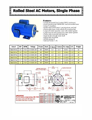 Hallmark Industries MA0510A AC Motor, 1 hp, 1725 RPM, 1PH/60 Hz, 115/208-230 VAC, 56C/TEFC, Cap Start with Foot, SF 1.15, Class F Insulation (Pack of 1) by Hallmark Industries (Image #3)
