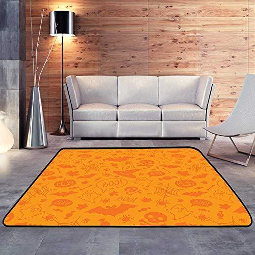 (Rubber mat,Halloween Orange Festive .W 71