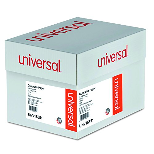 Universal 15851 Green Bar Computer Paper, 18lb, 14-7/8 x 11, Perforated Margins (Case of 2600 Sheets)