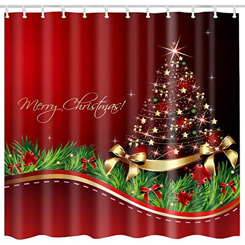 - BROSHAN Christmas Tree Shower Curtain Sets, Merry Christmas Shining Santa Tree Print, Waterproof Polyester Fabric Decor Bathroom Curtains, Red,Green,Gold,72 x 72 inch (Christmas A)