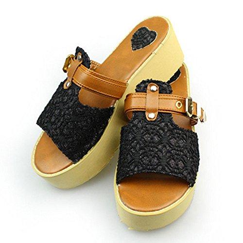 Confort Coolcept Sandales Femmes Black Mules Wedges CSxHS5f