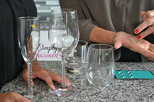 Swarovski Crystal Magnetic Wine Glass Charms Set of 12 Glass Markers that Work on Stemless Glasses - Gift/Storage Box Included by Simply Charmed by Simply Charmed (Image #1)