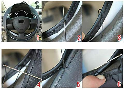 Black Stich Universal Leather Car Steering Wheel Cover for C Class C205 C220 C230