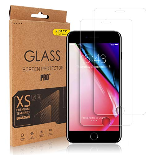 Screen Protector for iPhone 8 Plus, 2 Pack UINXTON Tempered Glass Screen Protector Compatible with iPhone 8 Plus 7 Plus 6S Plus 6 Plus [Anti-Scratch] [Easy Installation] [Bubble Free] (5.5)