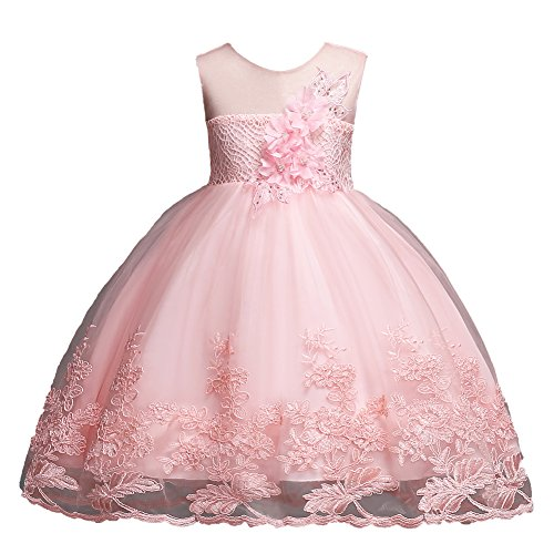 Little Girls Dress 4T Blush-Pink Summer Wedding Special Occasion Dresses for Kids Size 4-6 Knee Length Floral Bridesmaid Dresses for Toddlers Age of 5 Lace A-Line Tulle Princess Dresses (Pink 120)