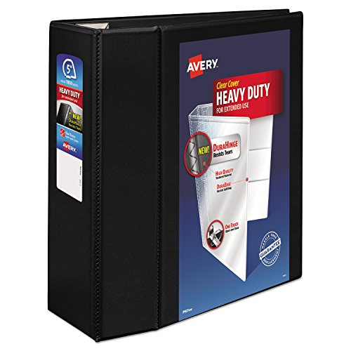 Avery Heavy-Duty Reference View Binder with 5 Inch EZD Rings, Black - 5 Binder Ezd Inch Ring