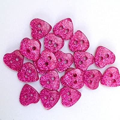 Sparkly Heart Buttons 15mm
