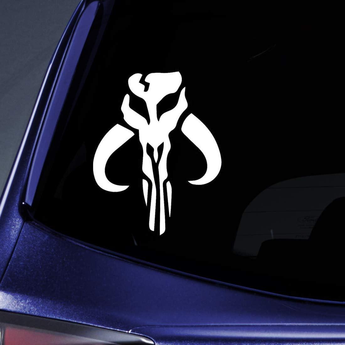 "Mandalorian Skull Boba Fett Sticker Decal Notebook Car Laptop 6"" (White)"