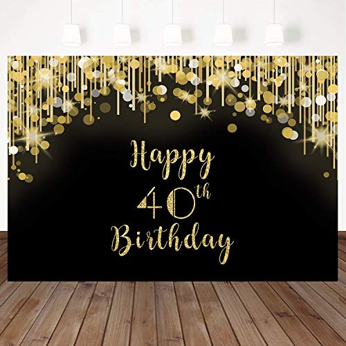 40th Birthday Backdrop (Mehofoto Happy 40th Birthday Backdrop Gold and Black Spot Photo Studio Booth Background 8x6ft Vinyl 40th Birthday Party Banner for Photography, Party Photoshoot)