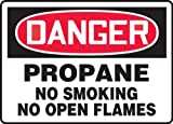 "Accuform MCPG025VA Aluminum Safety Sign, Legend ""DANGER PROPANE NO SMOKING NO OPEN FLAMES"", 7"" Length x 10"" Width, Red/Black on White"