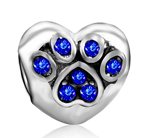 w Heart with Sapphire Blue Crystals Charm Bead for Charms Bracelets ()