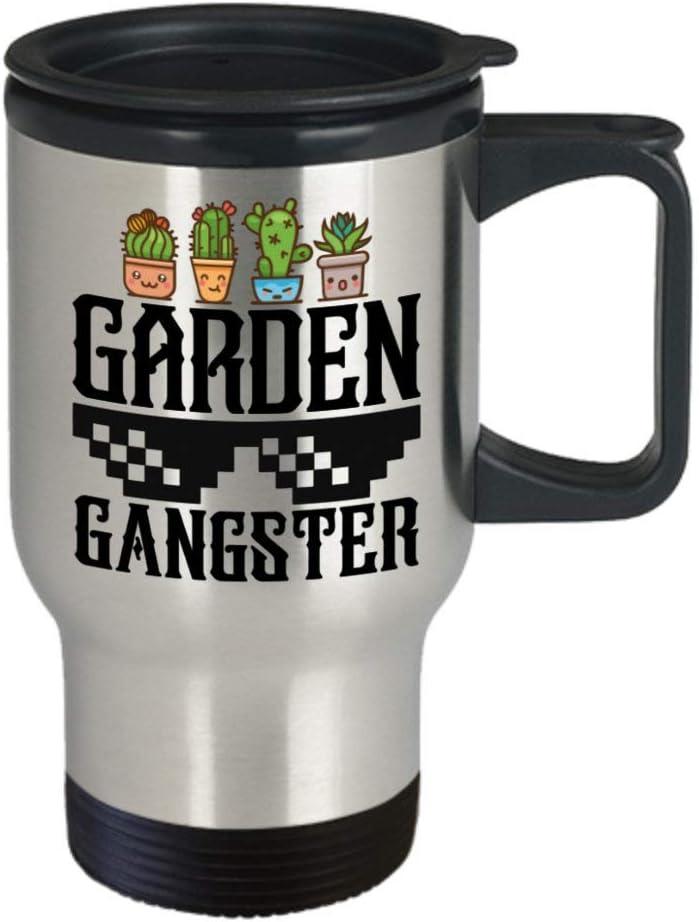 DKISEE Gardening Gifts Garden Gangster Birthday Idea for Men Women Travel Mug 14oz