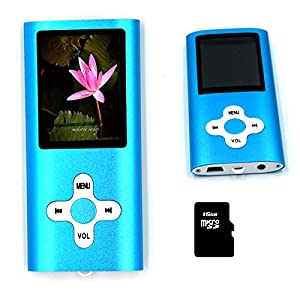 16GB Slim MP3 MP4 Music Player 1.8 inch LCD Screen FM Radio Video Player with accessories(Blue)