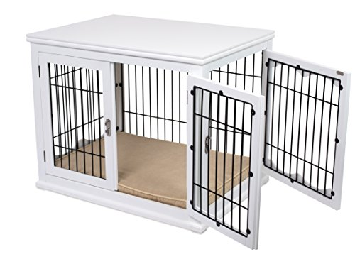 Internet's Best Decorative Dog Kennel with Pet Bed | Double Door | Wooden Wire Dog House | Large Indoor Pet Crate Side Table | White