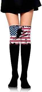 quanzhouxuhuixiefu Women's Knee High Sport Long Sock Cross-Country Skiing American Flag 50CM