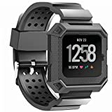 JIELIELE Versa Bands with Rugged Protective Silicone Frame Case, Resilient Anti Impact Band Strap Ultimate Protection Replacement Wristband Men Accessory for Fitbit Versa (Black)