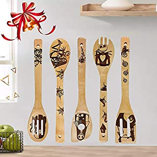 Household Kitchen Spatula Halloween Christmas Gifts Outdoor Cooking Tools & Accessories Halloween Bamboo Cooking Utensils Wood Slotted Spoon Spatula Nonstick Serving Utensils for Home Kitchen