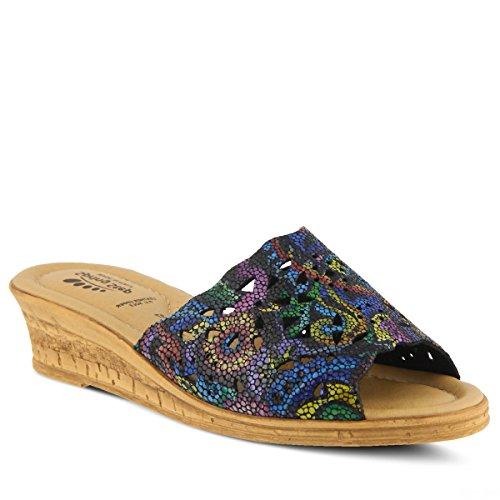 (Spring Step Women's Estella Nubuck Slide Sandal Black Multi)